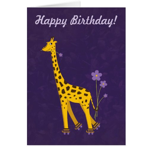 Giraffe Quotes Funny: Purple Customizable Text Funny Giraffe Birthday Card