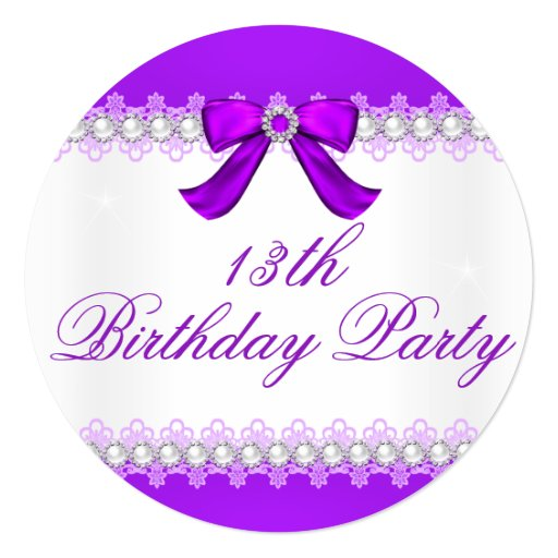 Purple Diamond Girls 13th Birthday Party Invitation