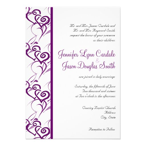 "Purple Double Hearts Swirls Wedding Invitations 5"" X 7"
