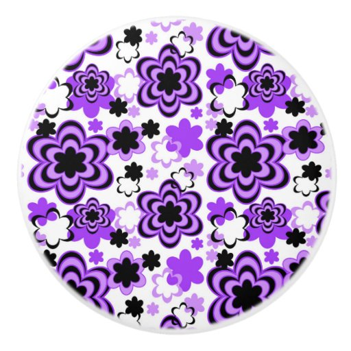Purple Floral Abstract Teen Girl Dresser Drawer Ceramic