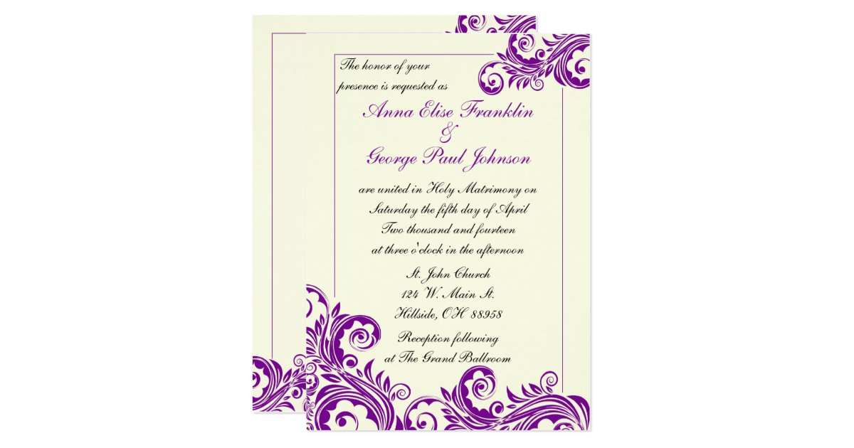 Flourish Wedding Invitations: Purple Flourish Vertical Wedding Invitation