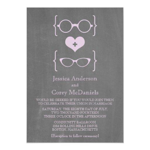 Nerdy Wedding Invites: Purple Geeky Glasses Chalkboard Wedding Invite