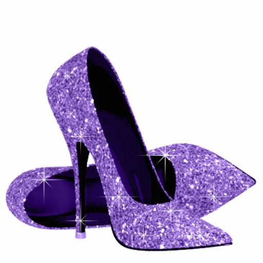 Purple Glitter High Heel Shoes Acrylic Cut Out