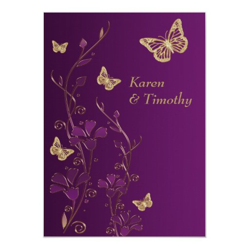 Gold And Purple Wedding Invitations: Purple, Gold Floral, Butterflies Wedding Invite