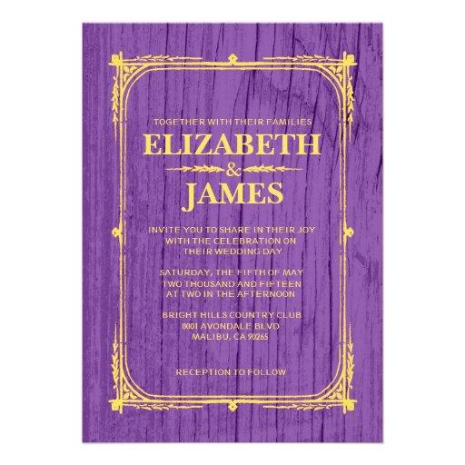 Purple Rustic Wedding Invitations: Purple & Gold Rustic Barn Wood Wedding Invitations Cards