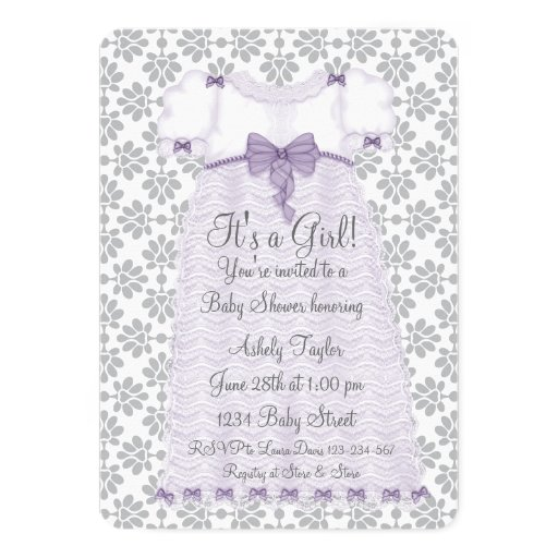 Purple Gray Damask Baby Girl Shower 5x7 Paper Invitation