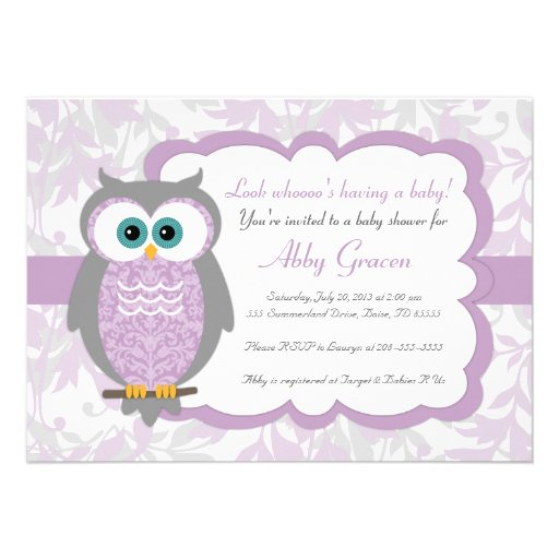 Purple, Gray, Owl Baby Shower Invitations