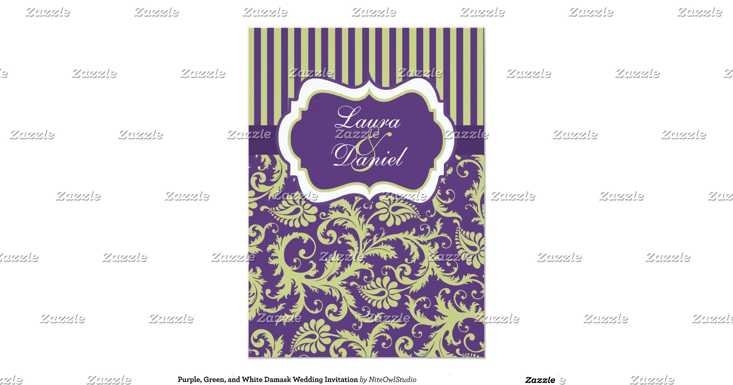 White And Green Wedding Invitations: Purple_green_and_white_damask_wedding_invitation