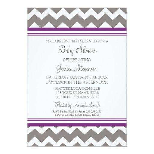 Purple Grey Chevron Custom Baby Shower Invitations