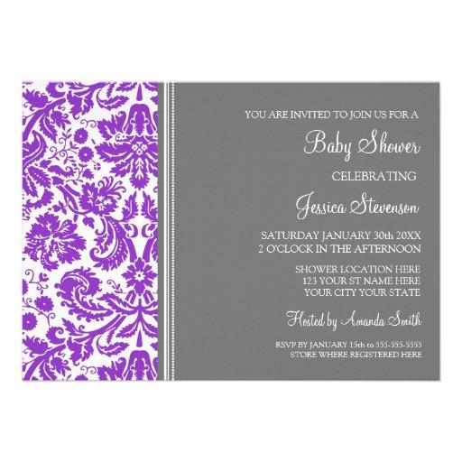 "Purple Grey Damask Custom Baby Shower Invitations 5"" X 7"