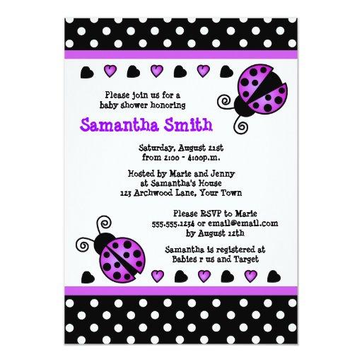 Purple Ladybug Baby Shower Black White Polka Dots 5x7