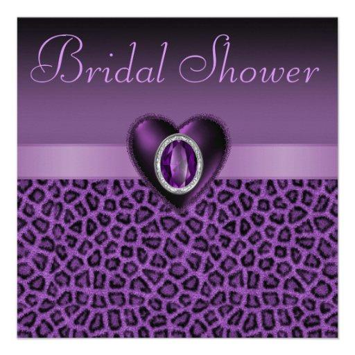 Purple Leopard Print Bling Hearts Bridal Shower Custom Invitation