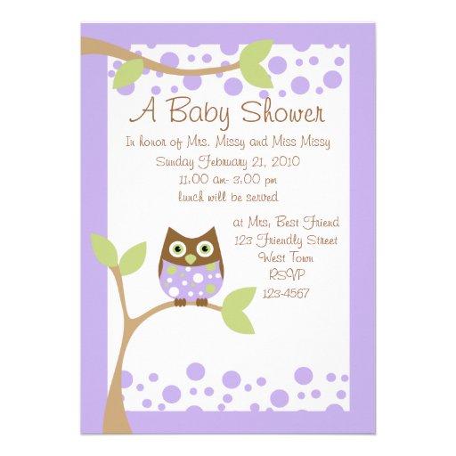 "Purple Owl Baby Shower Invitation 5"" X 7"" Invitation Card"