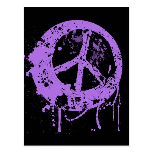 PURPLE PAINT SPLATTER PEACE SIGN POSTCARD | Zazzle