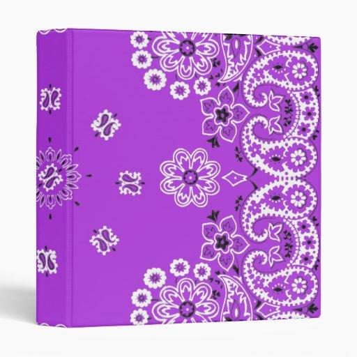 Purple Paisley Bandanna 1 Inch 3 Ring Binder