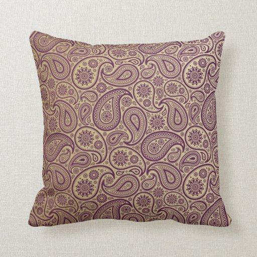 Purple Paisley On Gold Background Pillow Zazzle