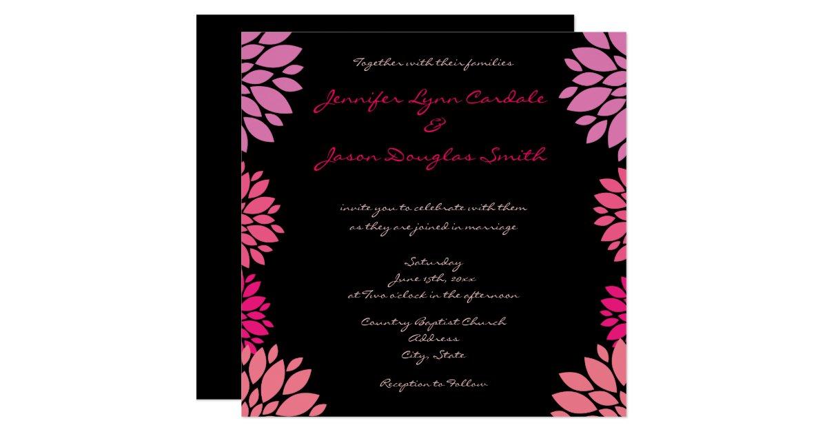 Pink And Black Wedding Invitations: Purple Pink And Black Flower Wedding Invitations