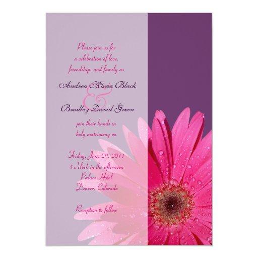 Gerbera Wedding Invitations: Purple Pink Gerbera Daisy Wedding Invitation