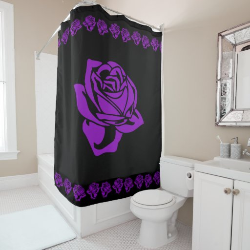 Lavender And Black Bathroom: Purple Rose And Black Shower Curtain
