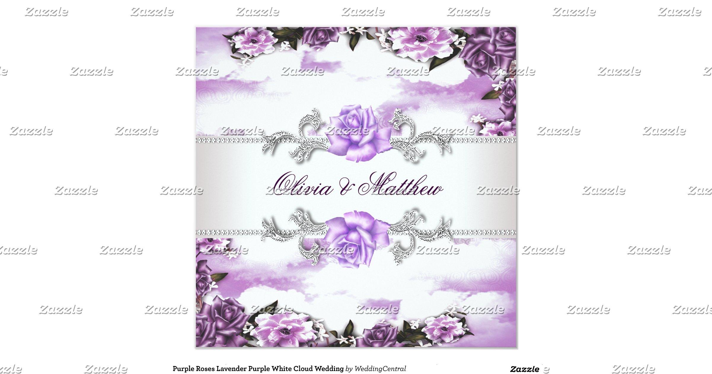 Purple Rose Wedding Invitations: Purple_roses_lavender_purple_white_cloud_wedding