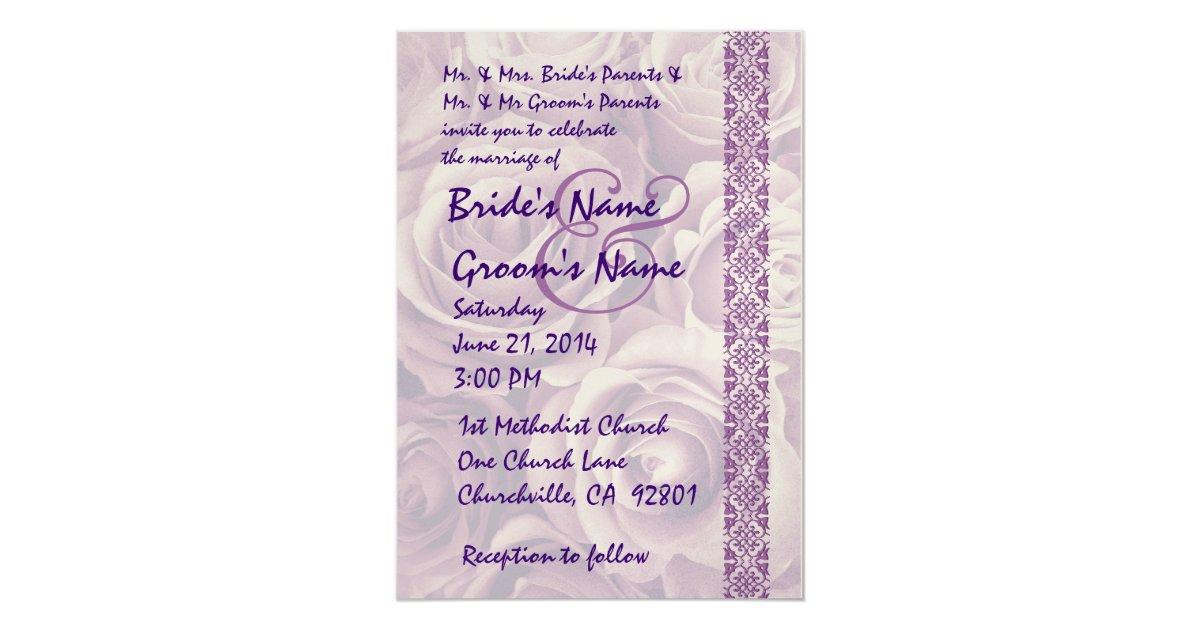 Purple Rose Wedding Invitations: PURPLE Roses Wedding Invitation