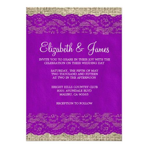 Purple Rustic Wedding Invitations: Purple Rustic Lace Wedding Invitations Custom Invite