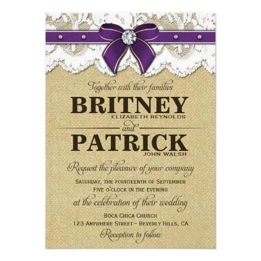 """Purple Rustic Wedding Invitations: Purple Rustic Vintage Burlap Wedding Invitations 4.5"""" X 6"""