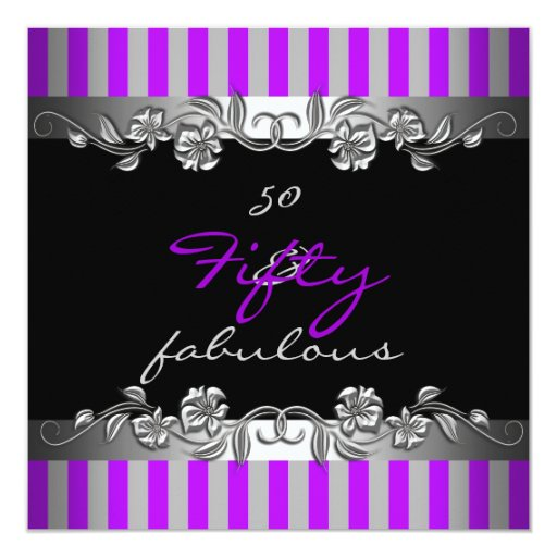 50 And Fabulous Text: Purple Stripe 50 & Fabulous 50th Birthday Party Card