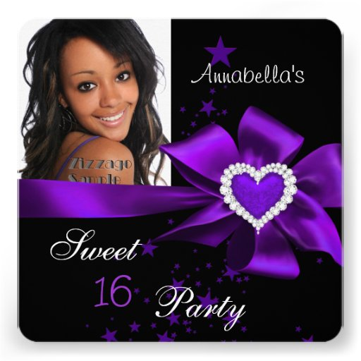 Purple Sweet 16 Birthday Party Heart Photo Personalized Announcement