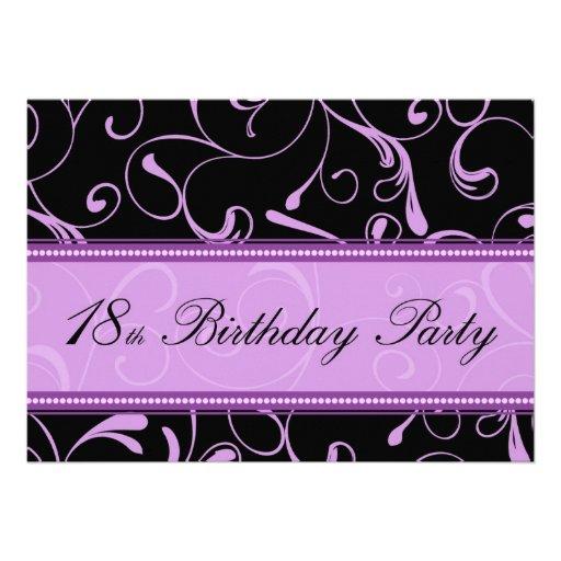 Purple Swirl 18th Birthday Party Invitation Cards