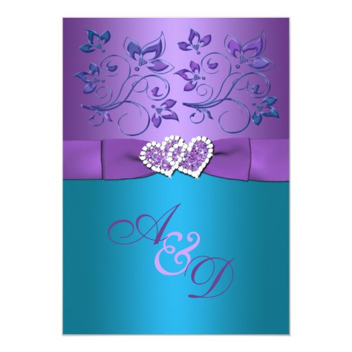 Best Ideas For Purple And Teal Wedding: Purple, Teal Floral Hearts Monogram Wedding Invite