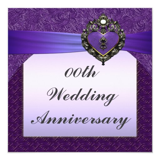 10th Wedding Anniversary Party Ideas: Purple Wedding Anniversary Party Invitation