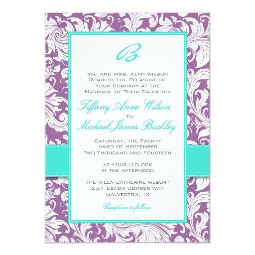 Purple white damask turquoise wedding invitation | Zazzle