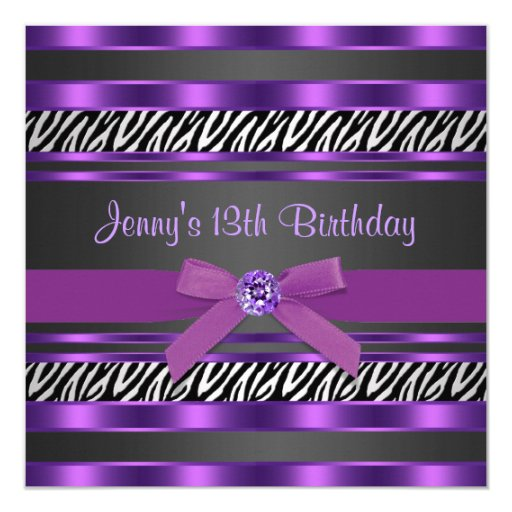 Purple Zebra Girls 13th Birthday Party Invitation