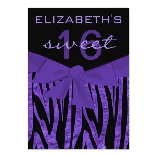Purple Zebra Print Sweet 16 Birthday Invitation | Zazzle