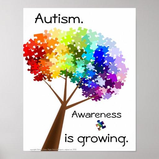 Puzzle Tree Autism Awareness Poster   Zazzle