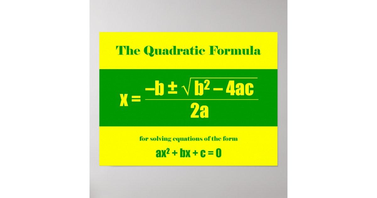 Quadratic Formula Poster   Zazzle   Quadratic Formula Art