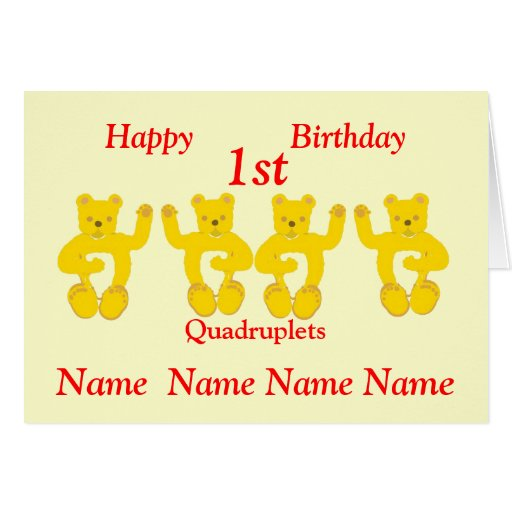 Quadruplets Birthday Card Add Names