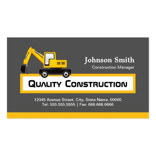 Construction Manager Business Cards Bizcardstudio