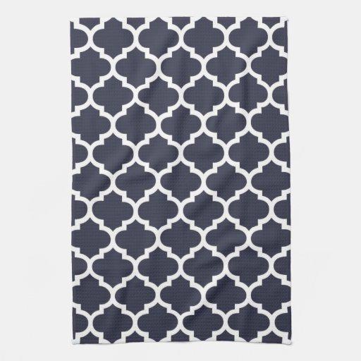 Quatrefoil Navy Blue Kitchen Towels