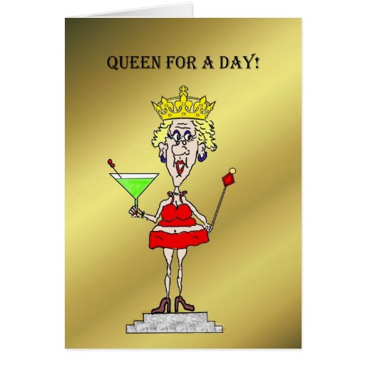 queen for a day chick on a pedestal card zazzle. Black Bedroom Furniture Sets. Home Design Ideas