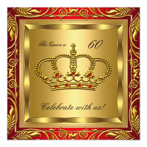 queen or king regal red gold birthday party personalized