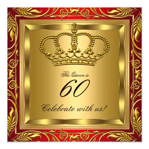 Queen Or King Royal Red Gold Elite Birthday Party Card