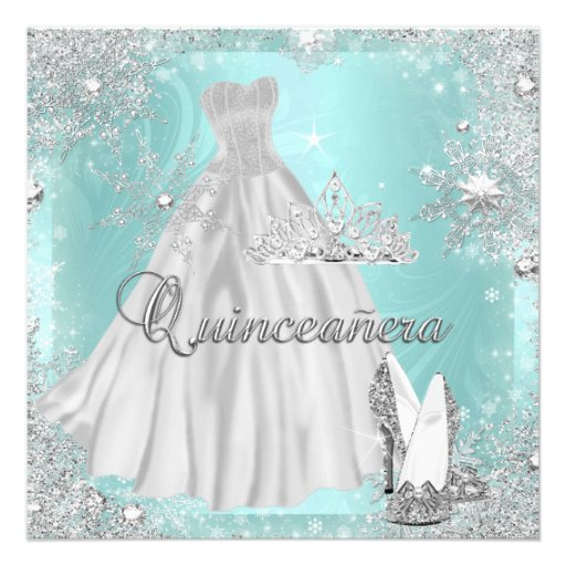 Quinceanera 15th Teal Silver Birthday Party Personalized