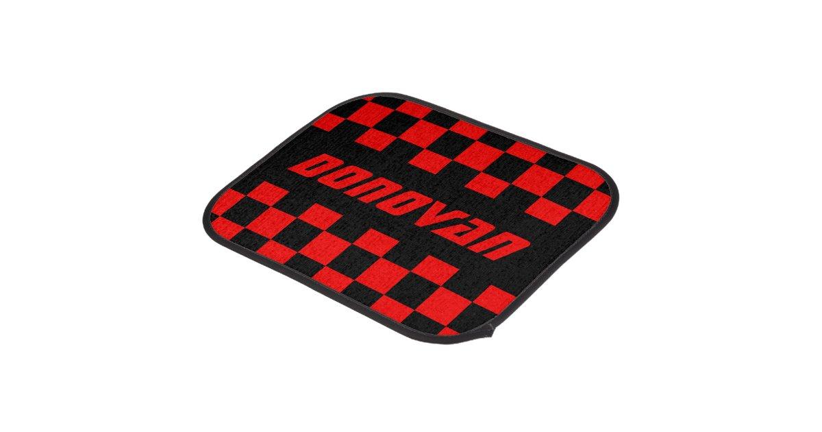 Race Car Checkered Flag Pattern | Black & Red Car Floor ...
