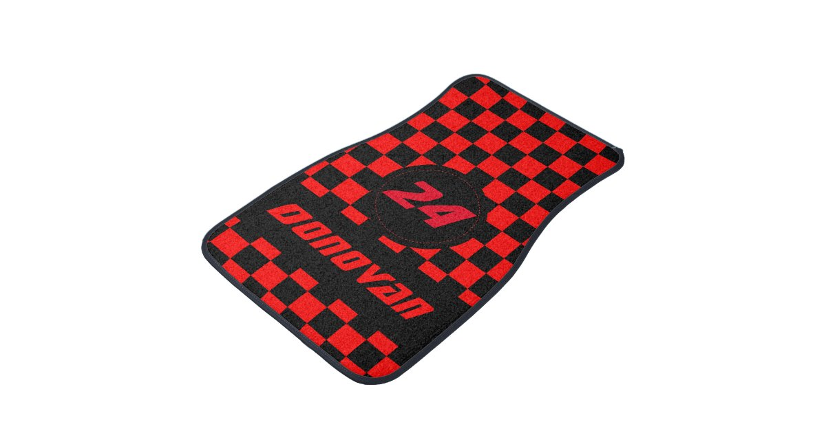 Race Car Checkered Flag Pattern | Black & Red Car Mat | Zazzle