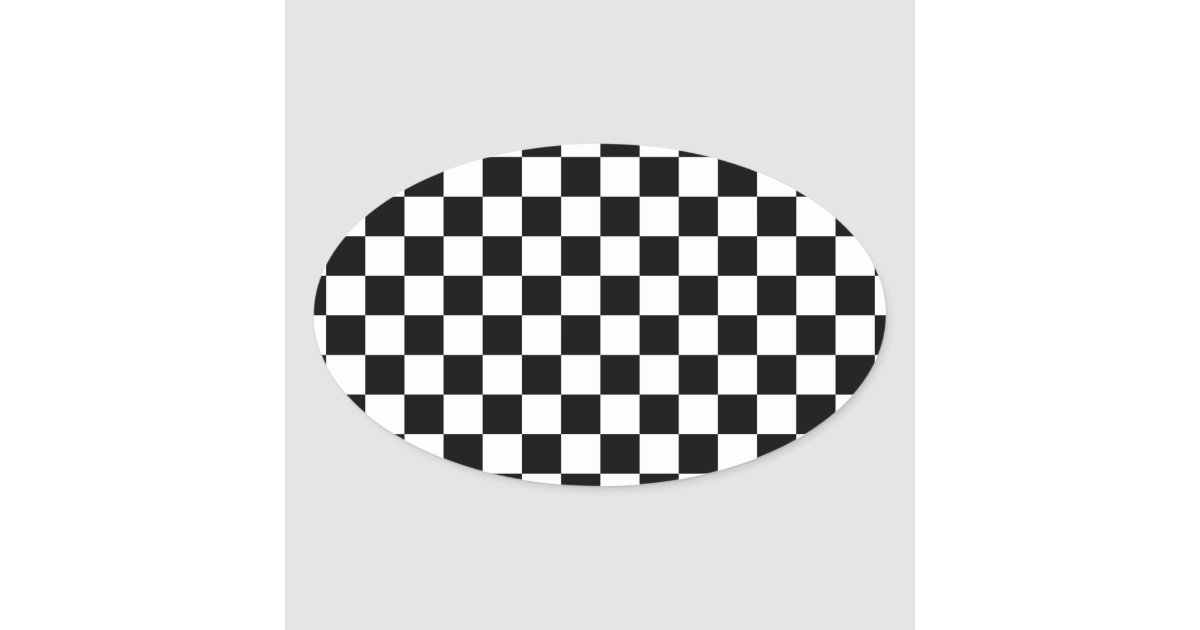 Racing Checkered Flag Pattern Large Black Oval Sticker