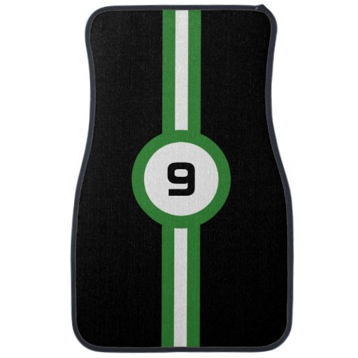 Racing Stripes Auto Floor Mats Green Zazzle