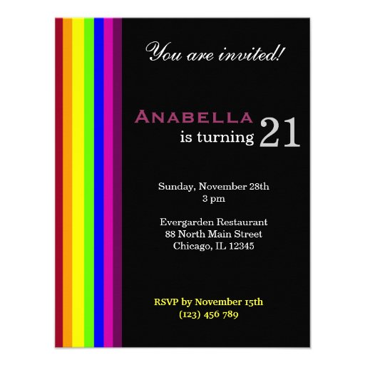 Personalized Elegant 21st Birthday Invitations Custominvitations4u Com