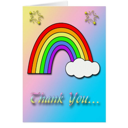 Thank You Quotes For Baby Gift: Rainbow Baby Shower Thank You Card